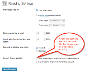 Wordpress Search Engine Visibility Option