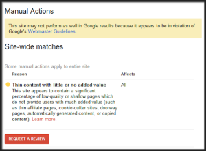 Gaming Google Webmaster Manual Action Notice
