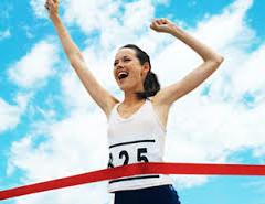 Woman Reaching Finish line